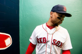 BOSTON, MA - MAY 29: Mookie Betts #50 of the Boston Red Sox walks through the tunnel before a game against the Cleveland Indians on May 29, 2019 at Fenway Park in Boston, Massachusetts. (Photo by Billie Weiss/Boston Red Sox/Getty Images) *** Local Caption *** Mookie Betts