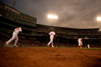 BOSTON, MA - MAY 29: Members of the Boston Red Sox run onto the field during the sixth inning of a game against the Cleveland Indians on May 29, 2019 at Fenway Park in Boston, Massachusetts. (Photo by Billie Weiss/Boston Red Sox/Getty Images) *** Local Caption ***