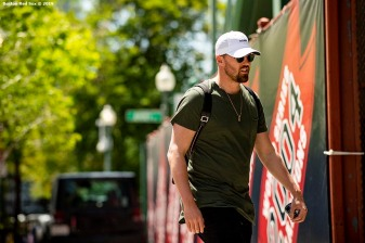 BOSTON, MA - JUNE 7: Heath Hembree #37 of the Boston Red Sox arrives before a game against the Tampa Bay Rays on June 7, 2019 at Fenway Park in Boston, Massachusetts. (Photo by Billie Weiss/Boston Red Sox/Getty Images) *** Local Caption *** Heath Hembree