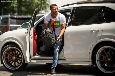 BOSTON, MA - JUNE 7: Xander Bogaerts #2 of the Boston Red Sox arrives before a game against the Tampa Bay Rays on June 7, 2019 at Fenway Park in Boston, Massachusetts. (Photo by Billie Weiss/Boston Red Sox/Getty Images) *** Local Caption *** Xander Bogaerts