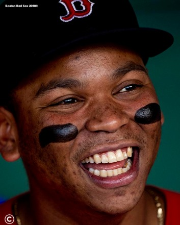 BOSTON, MA - JUNE 7: Rafael Devers #11 of the Boston Red Sox reacts before a game against the Tampa Bay Rays on June 7, 2019 at Fenway Park in Boston, Massachusetts. (Photo by Billie Weiss/Boston Red Sox/Getty Images) *** Local Caption *** Rafael Devers