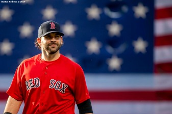 BOSTON, MA - JUNE 7: Mitch Moreland #18 of the Boston Red Sox looks on before a game against the Tampa Bay Rays on June 7, 2019 at Fenway Park in Boston, Massachusetts. (Photo by Billie Weiss/Boston Red Sox/Getty Images) *** Local Caption *** Mitch Moreland