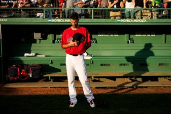 BOSTON, MA - JUNE 7: Rick Porcello #22 of the Boston Red Sox stands in the bullpen before a game against the Tampa Bay Rays on June 7, 2019 at Fenway Park in Boston, Massachusetts. (Photo by Billie Weiss/Boston Red Sox/Getty Images) *** Local Caption *** Rick Porcello
