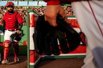BOSTON, MA - JUNE 7: Sandy Leon #3 of the Boston Red Sox exits the bullpen before a game against the Tampa Bay Rays on June 7, 2019 at Fenway Park in Boston, Massachusetts. (Photo by Billie Weiss/Boston Red Sox/Getty Images) *** Local Caption *** Sandy Leon