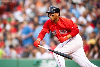 BOSTON, MA - JUNE 7: Rafael Devers #11 of the Boston Red Sox bats during the first inning of a game against the Tampa Bay Rays on June 7, 2019 at Fenway Park in Boston, Massachusetts. (Photo by Billie Weiss/Boston Red Sox/Getty Images) *** Local Caption *** Rafael Devers