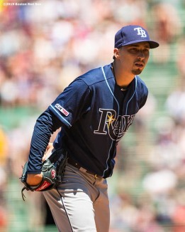 BOSTON, MA - JUNE 9: Blake Snell #4 of the Tampa Bay Rays looks on during the second inning of a game against theBoston Red Sox on June 9, 2019 at Fenway Park in Boston, Massachusetts. (Photo by Billie Weiss/Boston Red Sox/Getty Images) *** Local Caption *** Blake Snell
