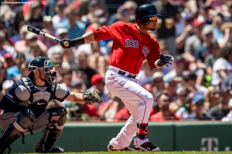 BOSTON, MA - JUNE 9: Marco Hernandez #40 of the Boston Red Sox hits an RBI single during the second inning of a game against the Tampa Bay Rays on June 9, 2019 at Fenway Park in Boston, Massachusetts. (Photo by Billie Weiss/Boston Red Sox/Getty Images) *** Local Caption *** Marco Hernandez