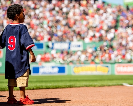 BOSTON, MA - JUNE 9: A young fan of the Boston Red Sox looks on during a game against the Tampa Bay Rays on June 9, 2019 at Fenway Park in Boston, Massachusetts. (Photo by Billie Weiss/Boston Red Sox/Getty Images) *** Local Caption ***