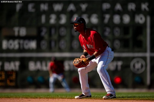 BOSTON, MA - JUNE 9: Marco Hernandez #40 of the Boston Red Sox looks on during the ninth inning of a game against the Tampa Bay Rays on June 9, 2019 at Fenway Park in Boston, Massachusetts. (Photo by Billie Weiss/Boston Red Sox/Getty Images) *** Local Caption *** Marco Hernandez