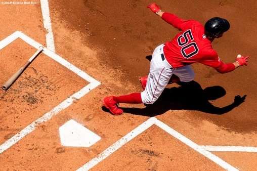 BOSTON, MA - JUNE 9: Mookie Betts #50 of the Boston Red Sox hits a single during the first inning of a game against the Tampa Bay Rays on June 9, 2019 at Fenway Park in Boston, Massachusetts. (Photo by Billie Weiss/Boston Red Sox/Getty Images) *** Local Caption *** Mookie Betts