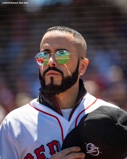 BOSTON, MA - JUNE 9: Singer Yandel looks on before throwing out a ceremonial first pitch before a game between the Boston Red Sox and the Tampa Bay Rays on June 9, 2019 at Fenway Park in Boston, Massachusetts. (Photo by Billie Weiss/Boston Red Sox/Getty Images) *** Local Caption *** Yandel