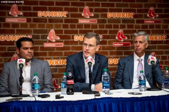 BOSTON, MA - JUNE 10: President & CEO Sam Kennedy of the Boston Red Sox delivers a statement to the media regarding the status of former designated hitter David Ortiz following an incident in the Dominican Republic alongside Executive Vice President and Assistant General Manager Eddie Romero and President of Baseball Operations Dave Dombrowski before a game against the Texas Rangers on June 10, 2019 at Fenway Park in Boston, Massachusetts. (Photo by Billie Weiss/Boston Red Sox/Getty Images) *** Local Caption *** Sam Kennedy; David Ortiz; Eddie Romero; Dave Dombrowski