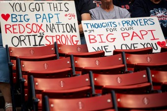 BOSTON, MA - JUNE 10: Fans display signs for former designated hitter David Ortiz of the Boston Red Sox after he was shot in the Dominican Republic before a game against the Texas Rangers on June 10, 2019 at Fenway Park in Boston, Massachusetts. (Photo by Billie Weiss/Boston Red Sox/Getty Images) *** Local Caption *** David Ortiz