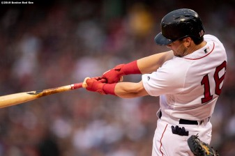 BOSTON, MA - JUNE 10: Andrew Benintendi #16 of the Boston Red Sox hits a two run home run during the first inning of a game against the Texas Rangers on June 10, 2019 at Fenway Park in Boston, Massachusetts. (Photo by Billie Weiss/Boston Red Sox/Getty Images) *** Local Caption *** Andrew Benintendi