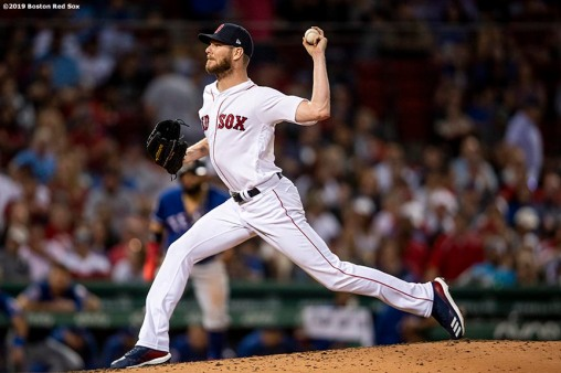 BOSTON, MA - JUNE 10: Chris Sale #41 of the Boston Red Sox delivers during the sixth inning of a game against the Texas Rangers on June 10, 2019 at Fenway Park in Boston, Massachusetts. (Photo by Billie Weiss/Boston Red Sox/Getty Images) *** Local Caption *** Chris Sale