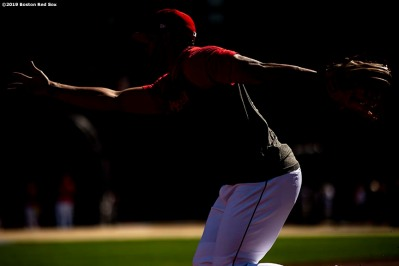 BOSTON, MA - JUNE 11: Xander Bogaerts #2 of the Boston Red Sox tosses a ball before a game against the Texas Rangers on June 11, 2019 at Fenway Park in Boston, Massachusetts. (Photo by Billie Weiss/Boston Red Sox/Getty Images) *** Local Caption *** Xander Bogaerts