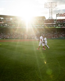 BOSTON, MA - JUNE 11: Darwinzon Hernandez #63 and Christian Vazquez #7 of the Boston Red Sox walk toward the infield before a game against the Texas Rangers on June 11, 2019 at Fenway Park in Boston, Massachusetts. (Photo by Billie Weiss/Boston Red Sox/Getty Images) *** Local Caption *** Darwinzon Hernandez