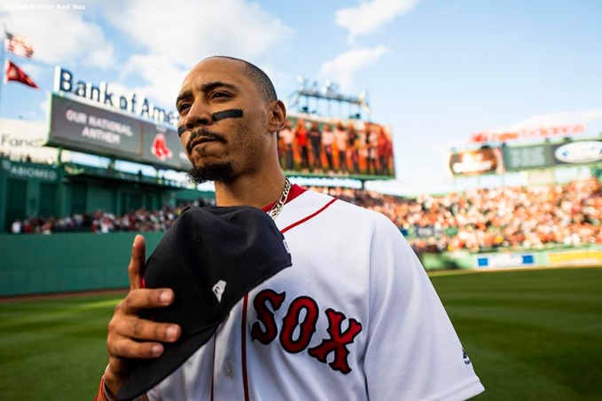 BOSTON, MA - JUNE 11: Mookie Betts #50 of the Boston Red Sox looks on before a game against the Texas Rangers on June 11, 2019 at Fenway Park in Boston, Massachusetts. (Photo by Billie Weiss/Boston Red Sox/Getty Images) *** Local Caption *** Mookie Betts
