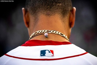 BOSTON, MA - JUNE 11: The necklace of Mookie Betts #50 of the Boston Red Sox is displayed before a game against the Texas Rangers on June 11, 2019 at Fenway Park in Boston, Massachusetts. (Photo by Billie Weiss/Boston Red Sox/Getty Images) *** Local Caption *** Mookie Betts