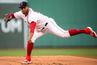 BOSTON, MA - JUNE 11: Darwinzon Hernandez #63 of the Boston Red Sox delivers during the first inning of a game against the Texas Rangers on June 11, 2019 at Fenway Park in Boston, Massachusetts. (Photo by Billie Weiss/Boston Red Sox/Getty Images) *** Local Caption *** Darwinzon Hernandez