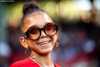 BOSTON, MA - JUNE 11: A young fan of the Boston Red Sox reacts before a game against the Texas Rangers on June 11, 2019 at Fenway Park in Boston, Massachusetts. (Photo by Billie Weiss/Boston Red Sox/Getty Images) *** Local Caption ***