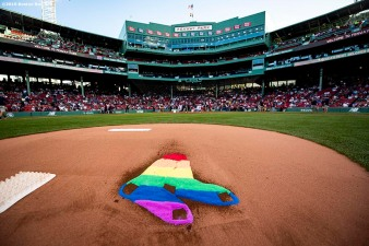 BOSTON, MA - JUNE 11: The Boston Red Sox rainbow logo is displayed in the dirt on the pitcher's mound in recognition of Pride night before a game against the Texas Rangers on June 11, 2019 at Fenway Park in Boston, Massachusetts. (Photo by Billie Weiss/Boston Red Sox/Getty Images) *** Local Caption ***