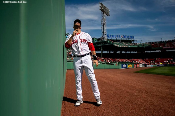 BOSTON, MA - JUNE 12: J.D. Martinez #28 of the Boston Red Sox reacts before a game against the Texas Rangers on June 12, 2019 at Fenway Park in Boston, Massachusetts. (Photo by Billie Weiss/Boston Red Sox/Getty Images) *** Local Caption *** J.D. Martinez