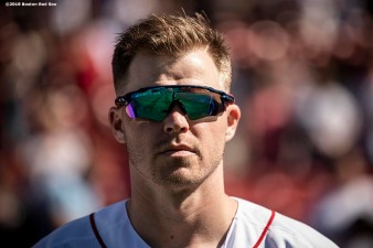 BOSTON, MA - JUNE 12: Brock Holt #12 of the Boston Red Sox looks on before a game against the Texas Rangers on June 12, 2019 at Fenway Park in Boston, Massachusetts. (Photo by Billie Weiss/Boston Red Sox/Getty Images) *** Local Caption *** Brock Holt
