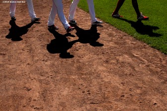 BOSTON, MA - JUNE 12: Members of the Boston Red Sox walk onto the field before a game against the Texas Rangers on June 12, 2019 at Fenway Park in Boston, Massachusetts. (Photo by Billie Weiss/Boston Red Sox/Getty Images) *** Local Caption ***