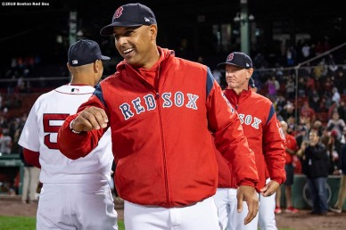 BOSTON, MA - JUNE 13: Manager Alex Cora of the Boston Red Sox celebrates a victory against the Texas Rangers on June 13, 2019 at Fenway Park in Boston, Massachusetts. (Photo by Billie Weiss/Boston Red Sox/Getty Images) *** Local Caption *** Alex Cora