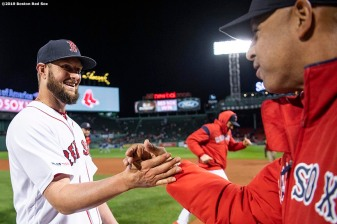 BOSTON, MA - JUNE 13: Manager Alex Cora and Josh Smith #67 of the Boston Red Sox celebrate a victory against the Texas Rangers on June 13, 2019 at Fenway Park in Boston, Massachusetts. (Photo by Billie Weiss/Boston Red Sox/Getty Images) *** Local Caption *** Alex Cora; Josh Smith