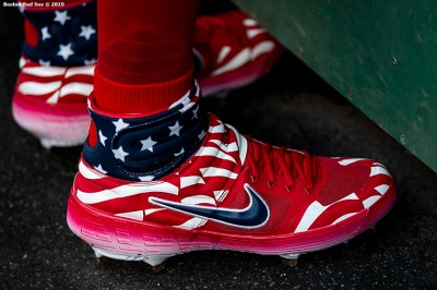 BOSTON, MA - JUNE 21: The shoes of Andrew Benintendi #16 of the Boston Red Sox are shown before a game against the Toronto Blue Jays on June 21, 2019 at Fenway Park in Boston, Massachusetts. (Photo by Billie Weiss/Boston Red Sox/Getty Images) *** Local Caption *** Andrew Benintendi