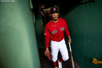 BOSTON, MA - JUNE 21: Mookie Betts #50 of the Boston Red Sox exits the tunnel before a game against the Toronto Blue Jays on June 21, 2019 at Fenway Park in Boston, Massachusetts. (Photo by Billie Weiss/Boston Red Sox/Getty Images) *** Local Caption *** Mookie Betts