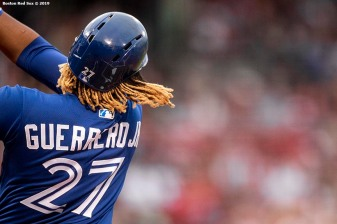BOSTON, MA - JUNE 21: Vladimir Guerrero Jr. #27 of the Toronto Blue Jays bats during the inning of a game against the Boston Red Sox on June 21, 2019 at Fenway Park in Boston, Massachusetts. (Photo by Billie Weiss/Boston Red Sox/Getty Images) *** Local Caption *** Vladimir Guerrero Jr.