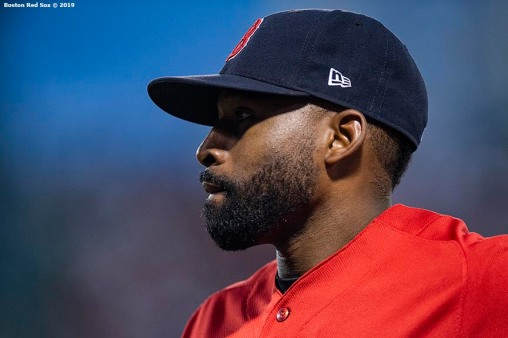 BOSTON, MA - JUNE 21: Jackie Bradley Jr. #19 of the Boston Red Sox looks on during the fourth inning of a game against the Toronto Blue Jays on June 21, 2019 at Fenway Park in Boston, Massachusetts. (Photo by Billie Weiss/Boston Red Sox/Getty Images) *** Local Caption *** Jackie Bradley Jr.