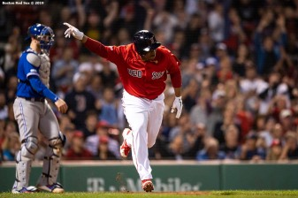 BOSTON, MA - JUNE 21: Rafael Devers #11 of the Boston Red Sox reacts after hitting a pinch hit game tying RBI single during the eighth inning of a game against the Toronto Blue Jays on June 21, 2019 at Fenway Park in Boston, Massachusetts. (Photo by Billie Weiss/Boston Red Sox/Getty Images) *** Local Caption *** Rafael Devers