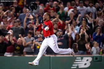 BOSTON, MA - JUNE 21: Christian Vazquez #7 of the Boston Red Sox reacts after hitting a game winning walk-off two run home run during the tenth inning of a game against the Toronto Blue Jays on June 21, 2019 at Fenway Park in Boston, Massachusetts. (Photo by Billie Weiss/Boston Red Sox/Getty Images) *** Local Caption *** Christian Vazquez