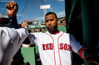 BOSTON, MA - JUNE 22: Eduardo Nunez #36 of the Boston Red Sox reacts before a game against the Toronto Blue Jays on June 22, 2019 at Fenway Park in Boston, Massachusetts. (Photo by Billie Weiss/Boston Red Sox/Getty Images) *** Local Caption *** Eduardo Nunez