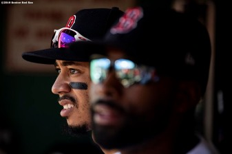 BOSTON, MA - JUNE 22: Mookie Betts #50 of the Boston Red Sox looks on before a game against the Toronto Blue Jays on June 22, 2019 at Fenway Park in Boston, Massachusetts. (Photo by Billie Weiss/Boston Red Sox/Getty Images) *** Local Caption *** Mookie Betts