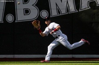 BOSTON, MA - JUNE 22: Andrew Benintendi #16 of the Boston Red Sox catches a fly ball during the first inning of a game against the Toronto Blue Jays on June 22, 2019 at Fenway Park in Boston, Massachusetts. (Photo by Billie Weiss/Boston Red Sox/Getty Images) *** Local Caption *** Andrew Benintendi