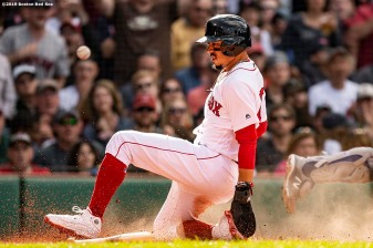 BOSTON, MA - JUNE 22: Mookie Betts #50 of the Boston Red Sox slides as he scores during the second inning of a game against the Toronto Blue Jays on June 22, 2019 at Fenway Park in Boston, Massachusetts. (Photo by Billie Weiss/Boston Red Sox/Getty Images) *** Local Caption *** Mookie Betts