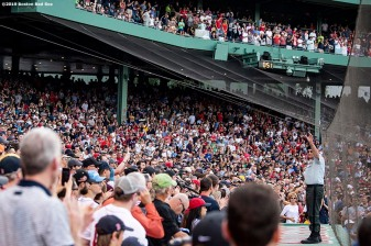 BOSTON, MA - JUNE 22: Hats off to Heroes during a game between the Boston Red Sox and the Toronto Blue Jays on June 22, 2019 at Fenway Park in Boston, Massachusetts. (Photo by Billie Weiss/Boston Red Sox/Getty Images) *** Local Caption ***