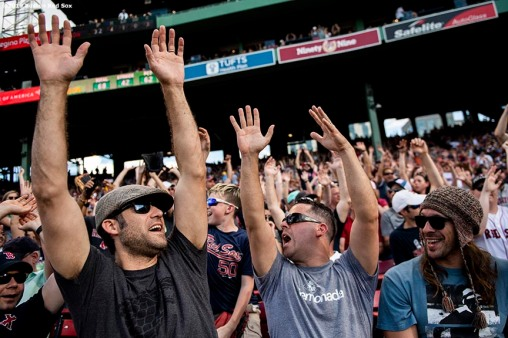 BOSTON, MA - JUNE 22: Fans cheer during a game between the Boston Red Sox and the Toronto Blue Jays on June 22, 2019 at Fenway Park in Boston, Massachusetts. (Photo by Billie Weiss/Boston Red Sox/Getty Images) *** Local Caption ***
