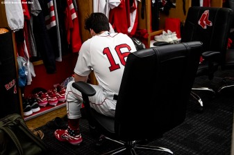 BOSTON, MA - JUNE 24: Andrew Benintendi #16 of the Boston Red Sox sits at his locker before a game against the Chicago White Sox on June 24, 2019 at Fenway Park in Boston, Massachusetts. (Photo by Billie Weiss/Boston Red Sox/Getty Images) *** Local Caption *** Andrew Benintendi
