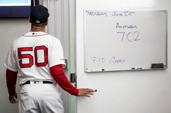 BOSTON, MA - JUNE 24: Mookie Betts #50 of the Boston Red Sox exits the clubhouse before a game against the Chicago White Sox on June 24, 2019 at Fenway Park in Boston, Massachusetts. (Photo by Billie Weiss/Boston Red Sox/Getty Images) *** Local Caption *** Mookie Betts