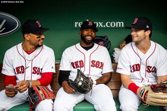 BOSTON, MA - JUNE 24: Mookie Betts #50, Jackie Bradley Jr. #19, and Andrew Benintendi #16 of the Boston Red Sox react before a game against the Chicago White Sox on June 24, 2019 at Fenway Park in Boston, Massachusetts. (Photo by Billie Weiss/Boston Red Sox/Getty Images) *** Local Caption *** Mookie Betts; Jackie Bradley Jr., Andrew Benintendi