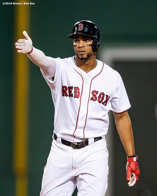BOSTON, MA - JUNE 24: Xander Bogaerts #2 of the Boston Red Sox reacts after hitting a double during the sixth inning of a game against the Chicago White Sox on June 24, 2019 at Fenway Park in Boston, Massachusetts. (Photo by Billie Weiss/Boston Red Sox/Getty Images) *** Local Caption *** Xander Bogaerts