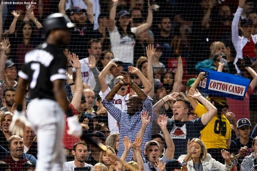BOSTON, MA - JUNE 24: Fans react as Tim Anderson #7 of the Chicago White Sox strikes out during the seventh inning of a game against the Boston Red Sox on June 24, 2019 at Fenway Park in Boston, Massachusetts. (Photo by Billie Weiss/Boston Red Sox/Getty Images) *** Local Caption *** Tim Anderson