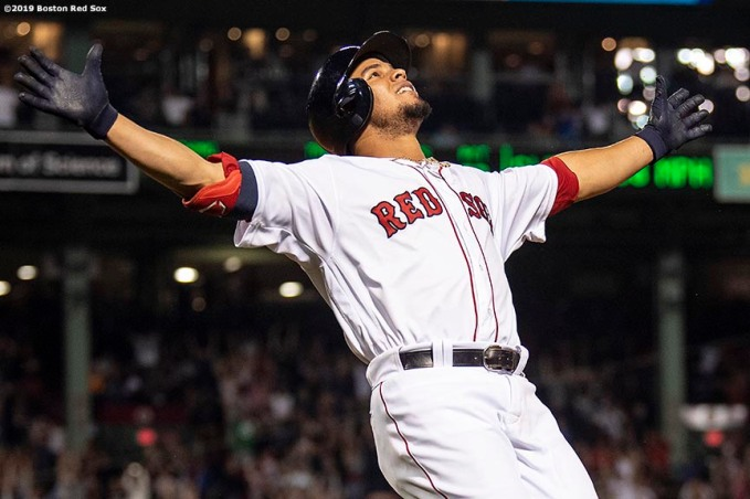 BOSTON, MA - JUNE 24: Marco Hernandez #40 of the Boston Red Sox reacts after hitting the game winning walk-off infield single during the ninth inning of a game against the Chicago White Sox on June 24, 2019 at Fenway Park in Boston, Massachusetts. (Photo by Billie Weiss/Boston Red Sox/Getty Images) *** Local Caption *** Marco Hernandez