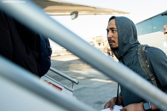BOSTON, MA - JUNE 26: Mookie Betts #50 of the Boston Red Sox boards the plane as the team travels to London ahead of the 2019 Major League Baseball London Series on June 26, 2019 in Boston, Massachusetts. (Photo by Billie Weiss/Boston Red Sox/Getty Images) *** Local Caption *** Mookie Betts